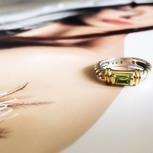 💯 David Yurman Peridot & 14k gold cable ring